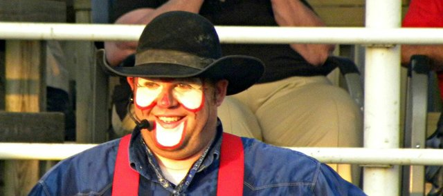 Rodeo clown Shawn Thompson, a cancer survivor, will entertain Thursday and Friday at the Abdallah Shrine Rodeo in Tonganoxie. The Sidney, Iowa, man survived Non-Hodgkin lymphoma 12 years ago and now clowns at rodeos, works as a special education teacher and is a football coach.