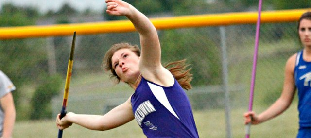 Baldwin Sophomore Kelsey Kehl uncorks the javelin in Friday's 4A regional meet in Basehor. Kehl won the event and finished second in the discus to earn spots in both events at this weekend's 4A state championship meet in Wichita.