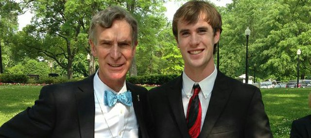 Austin Kraus, a 2013 Baldwin High School graduate, poses with TV science personality Bill Nye during his recent trip to Washington, D.C., to attend the White House Science Fair. Kraus was chosen for the trip because of the success he enjoyed as a member of the Real World Design Challenge teams his four year as a BHS student.