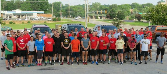Several Leavenworth County law enforcement agencies came together Tuesday, June 3, 2014, for a torch run to support Special Olympics.