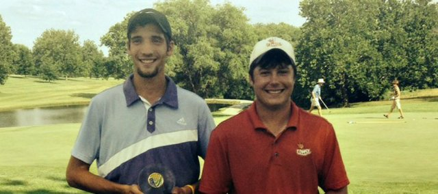 Tonganoxie High grad Colby Yates, right, teamed up with Russell's Jordan Hecker to win the Kansas Four-Ball match play championship Sunday in Lawrence.