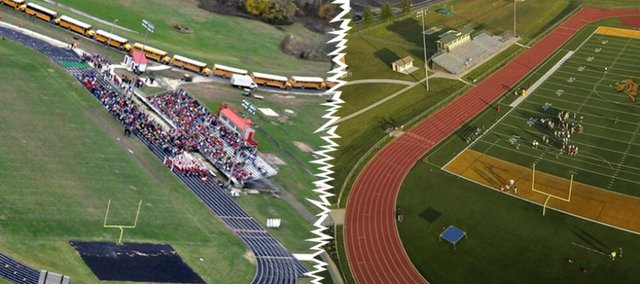 The installation of turf has become a growing trend at high schools in northeast Kansas. Talks at Tonganoxie have heated up since many of the Chieftains' neighbors have installed turf in recent years. Left: Tonganoxie's Beatty Field (file photo). Right: Basehor-Linwood's turf field, which was installed in 2010 (contributed photo by Nick Verbenec).