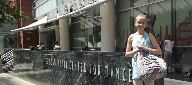 Luisa Pierce poses outside of the Alvin Ailey American Dance Theater in New York City where she completed a five-week dance training program this summer. Pierce, who will be a freshman at Baldwin High School this year, studies dance at the Lawrence Arts Center's School of Dance.