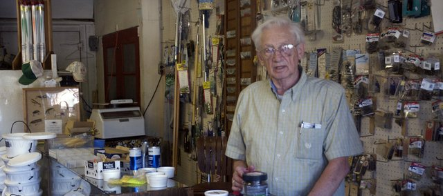 For 34 years, Gene Nelson has been selling bait and tackle from his shop on U.S. Highway 56 and sharing the wisdom gained from a lifetime of fishing. Now retired after heading the Baker University biology department for 26 years and teaching at the school for 28, Nelson is at the shop from 4 to 6 p.m. Monday through Friday, 9 a.m. to 5 p.m. Saturday and 10 a.m. to 2 p.m. Sunday.
