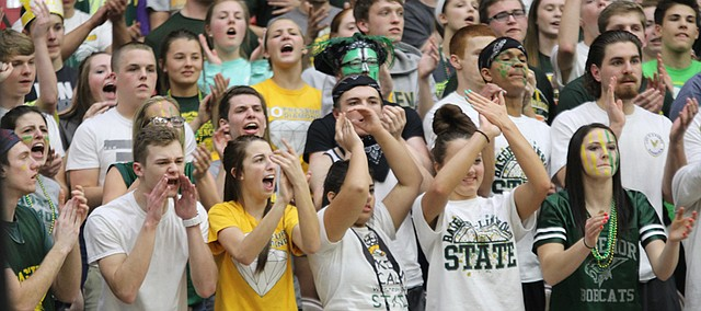 Bobcat fans cheer for the BLHS boys basketball team during its run for the 4A state title. Student journalists with the school newspaper, The Express, got several guest writers to share their experience of cheering on the team, which lost the championship game.