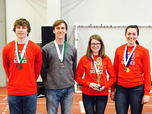 Seniors on this year's Tonganoxie High School Science Olympiad team are, from left, Garrett French, Brad Andrews, Danielle Irwin and Grace Reilly. THS will compete April 4 at the state competition on the Wichita State University campus. The squad placed third at regionals a few weeks ago at Johnson County Community College. THS was the top team in the small-school division. The squad placed second at state in its division last year.