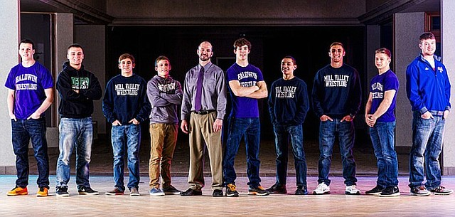 2015 all-area wrestling, from left, Joel Halford, Baldwin; Josh Miller, De Soto; Conner Ward, Mill Valley; Tate Steele, Free State; Coach of the Year Kit Harris, Baldwin; Wrestler of the Year Jon Pratt, Baldwin; Dylan Gowin, Mill Valley; Bryan Burnett, Mill Valley; Thomas Lisher, Baldwin; Ethan Dean, Santa Fe Trail.