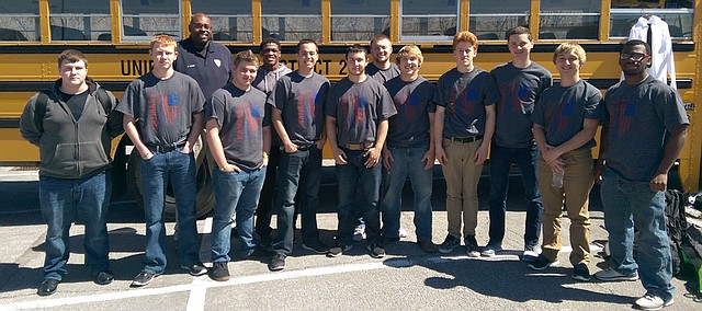Twelve Bonner Springs High School students competed in the Kansas Skills USA Criminal Justice competition this week. Blake McMahan (front row, fourth from left) and Wayne Cornwell (front row, second from left) had two of the top three scores in the competition.