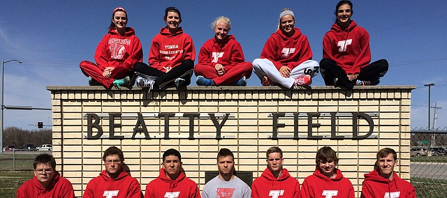 Seniors on this year's Tonganoxie High track team are, front row, from left, Grage Laster, Albert Miller, Ray Munoz, Levi Koch, Devan Smith, Garrett French and Brad Andrews; back row from left, Megan Behm, Tressa Walker, Kourtni Freemyer, Summer Cerny and Jessica Minear.
