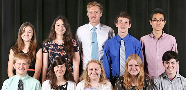 The 2015 class of Academic All-Stars includes, front row from left, Joel Sweeney, Anna Sophia Westbrook, Katherine Webber, Chloe O'Dell and Spencer Morgan. Back row left are: Grace Mader, Grace Reilly, Jack Ziegler, Broderick Topil and Brian Chang.