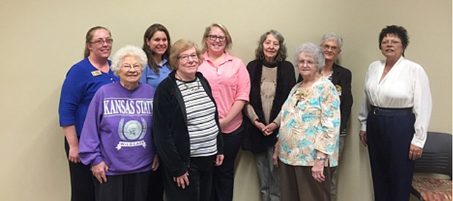 Bonner Springs Business and Professional Women's group includes 32 members. Shown above are (back row, left to right) Amie Trafton, President, Brook Rentz, Advisor, Ashley Roberts, Treasurer, Lana King, Nancy Olson, Debe Birzer and (front row, left to right) Jeannine Gallagher, Linda Linkugel and Helen Oelschlaeger.