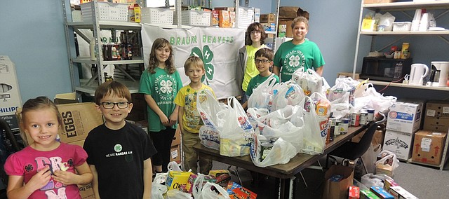 The Brauer Beavers 4-H Club from Bonner Springs helped raise $150 cash donations and 325 pounds of food donations for Vaughn-Trent Community Services on March 29 at Price Chopper in Bonner Springs. Members in the club are pictured left to right: Annalee Morche,  Justin Korgol, Hazelbell Morche, Danny Morche, Braden Korgol, Kameron Zimmerly, and Kamren Brown.  Other members who helped, but aren't pictured, were: Lauren, Christina and Ethan Edwards; Jarod Mortensen; and Charlotte Dykes.