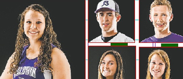 Nine Baldwin High School athletes were named to Lawrence Journal World all-area team for their success in spring sports. The Bulldogs were (clockwise from top left) Alexia Stein, track, Jordan Hoffman, track, Kelsey Kehl, track, Erica Petry, soccer, Sierra Hall, track, Sierra McKinney soccer, Dakota Helm, track, and Ben Brungardt. baseball. Christian Gaylord, named to the all-area track team, is not pictured.
