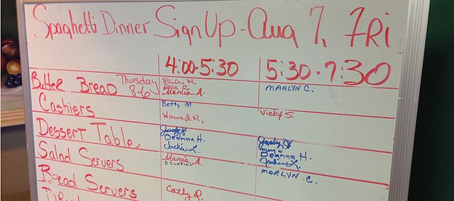 The dry-erase board that serves as a sign-up sheet for volunteer shifts at the Senior Center's All-You-Can-Eat Spaghetti Dinner is very slowly filling up in advance of Friday's 25th Annual dinner. The Senior Center's members say they could use some help and hope for membership to grow in coming years so the dinner, which raises funds for scholarships, can continue.
