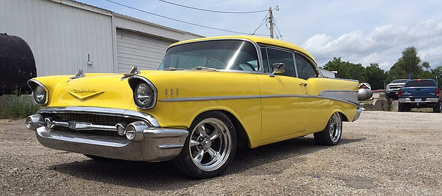 The 1957 Chevrolet Bel-Air still sports the yellow paint job completed by its previous owner, the late Michael Graham, not long before Graham was killed in an accident shortly after graduating in the Bonner Springs High School Class of 1980. Graham's nephew, Josh Feilbach, now owns the car and is bringing it back to Bonner Springs for Tiblow Days.