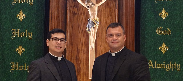 Vicar Rene Castillero, left, with pastor Robert Weinkauf.