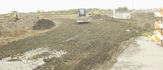 A Killough Construction crew works to establish the roadbed for the realignment of High Street south of U.S. Highway 56. Baldwin City public works director Bill Winegar said the company's contract stipulates they finish in 45 day, which be before the Maple Leaf Festival.
