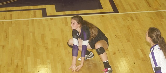 Baldwin senior Kelsey Kehl digs a return during the Bulldogs' three-set loss Tuesday to De Soto. The team will head Saturday to Wellsville for the Wellsville Invitational.