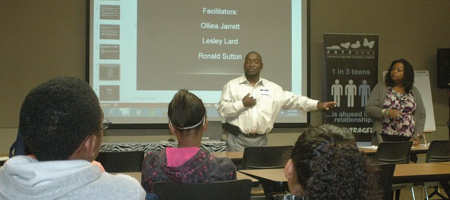 Ronald Sutton speaks during the first session of the Bonner Springs NAACP's Youth Summit Saturday.