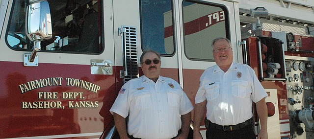 Chuck Magaha (right), chief of the Fairmount Township Fire Department, says the department has accomplished the three goals he set out after taking the position a year ago, including hiring a full-time administrator, Mike Lingenfelser (left).