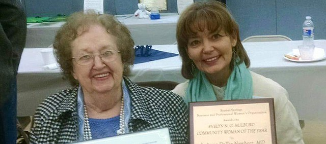 LeAnne DeTar Newbert (right) was selected as Bonner Springs Business and Professional Women's 2015 Community Woman of the Year at the groups 70th Year Celebration last week. Norma Ward (left) was also recognized for being a member of the BPW for 65 years.