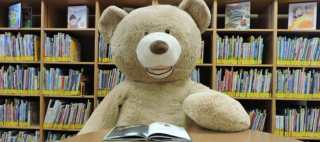 This bear needs a name. The stuffed animal recently was donated to Tonganoxie Public Library. Staff members are having a naming contest for patrons.