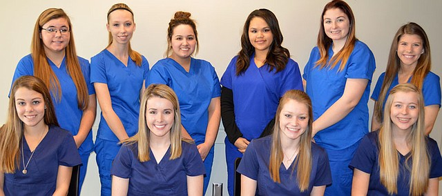 The first 10 students to complete the Certified Nursing Assistant class offered on the Bonner Springs High School campus are, left to right (back row) Hanna Wenzel, Hayley Butler, Alyissa Mendoza, Micayla Pierce-Thomas, Bailey Pierce and Heidi Rodgers and(front row) Katie Carpenter, Brittney Clark, Lillian Lackner and Taylor Vanden Hull.