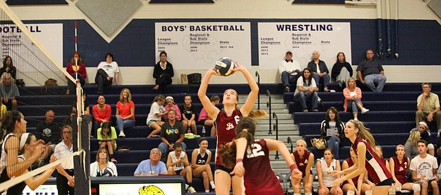 St. James' Jenna Gray sets up teammate Audriana Fitzmorris, No. 12, for a spike during a match against Mill Valley in 2014. Gray and Fitzmorris were named National (Senior) Players of the Year by PrepVolleyball.com. While at St. James they won three state titles. They'll both continue their education and playing career at Stanford.