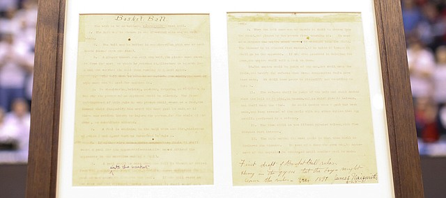 """James Naismith's official """"Rules of Basket Ball"""" will be displayed at the new DeBruce Center, under construction adjacent to Allen Fieldhouse, at Kansas University's Lawrence campus."""