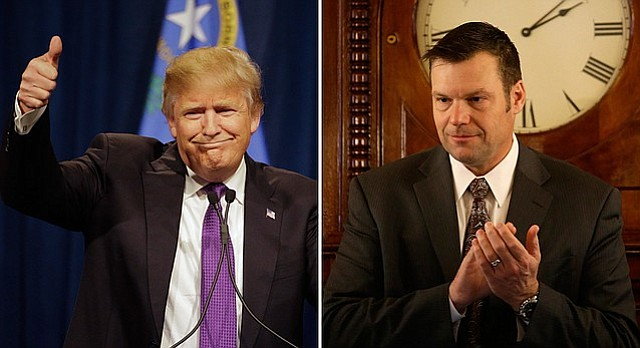 Kansas Secretary of State Kris Kobach, right, expressed his support Monday for billionaire businessman Donald Trump's presidential campaign.