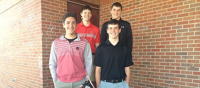Seniors on the 2016 Tonganoxie High golf team are, clockwise from bottom left, Dawson Jones, Ben Lanza, Gage Hendrix and Noah Arthuad. THS returns all of its varsity team from last season.
