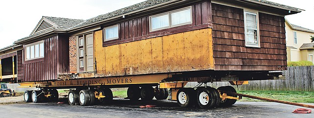 The 1950's All-Electric House has been raised from the ground at the Johnson County Museum, 63rd and Lackman, and is ready to travel Tuesday night to the museum's future home at 83rd and Metcalf.