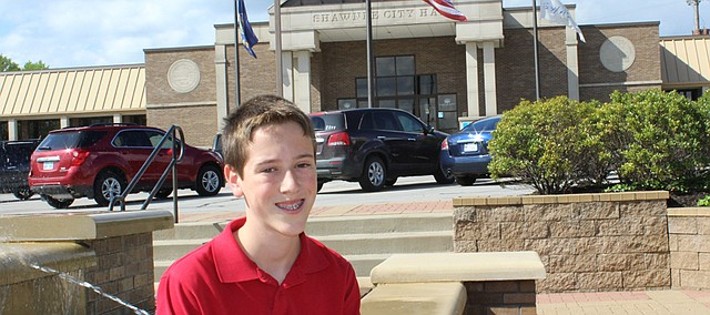 "Paul Hartman, seventh grader at St. Joseph Catholic School, was selected the winner of Mayor Michelle Distler's ""Mayor for a Day"" essay contest."