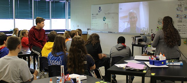 Amy Hanna's eighth grade students Skype with a professor of geophysics and volcanology Monday at Monticello Trails Middle School.