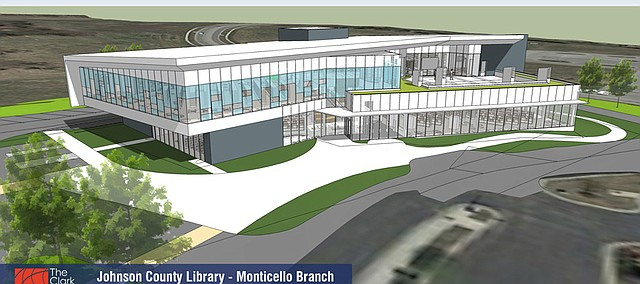 A view of the east side of a preliminary design for the Monticello Library.