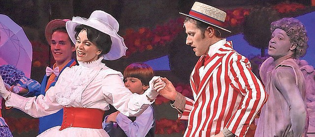 """Jennifer Renfrow as Mary and Erik Meixelsperger as Bert dance together in a scene from """"Mary Poppins,"""" now showing at the Jewish Community Center of Greater Kansas City. Later, it will move to Theatre in the Park."""