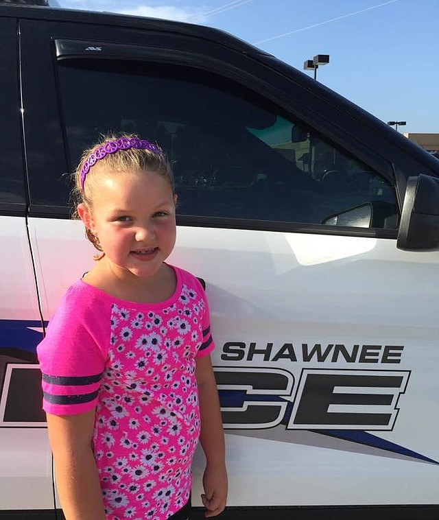 Annie Camp, 6, recently raised $180 from her lemonade stand. She donated the money to the Shawnee Police Department.