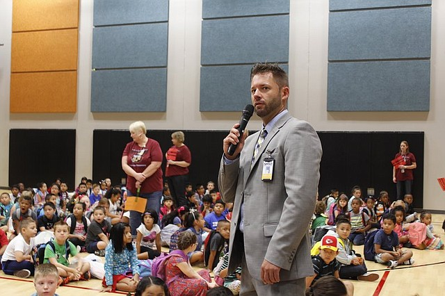 Dominic Flora, the new principal of Shawanoe Elementary School, introduced himself to students on the first day of school Friday morning.
