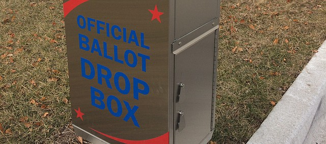 A ballot drop-off box stands near the Leavenworth County Courthouse on the south side. A similar box is at the Leavenworth County Annex in Tonganoxie. Tonganoxie voters can drop off their ballots at the annex, which County Clerk Janet Klasinski said actually would save the city of Tonganoxie on postal charges. Ballots are due back to the county at noon Feb. 28.