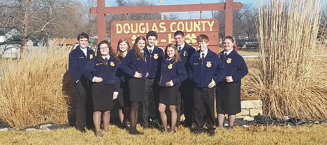 Tonganoxie FFA members participate in speech competitions last month at the Douglas County Fairgrounds in Lawrence.