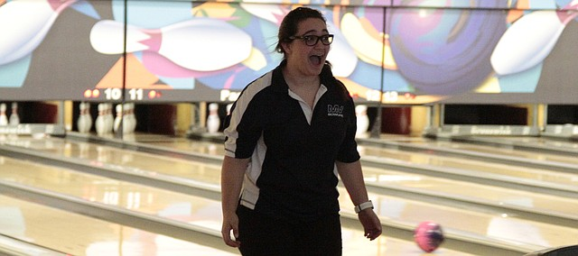 Mill Valley senior Meghan Clark reacts to picking up a 4-7-10 split during the Battle of Park Lanes quadrangular on Wednesday.