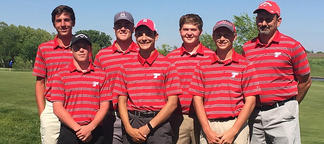 The Tonganoxie High golf team wins the Kaw Valley League golf tournament Monday at Falcon Lakes. Matt Scharff also won the individual title.