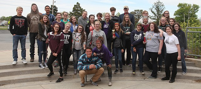 Tonganoxie High students gather after returning home from a successful day at Highland Art Day on April 27 at Highland Community College.