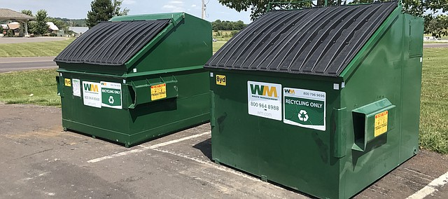 Recycling bins are situated at Leavenworth County EMS Station No. 2, formerly the County Annex at U.S. Highway 24-40 and Laming Road. The county placed the bins at the site as an option for rural recyclers.