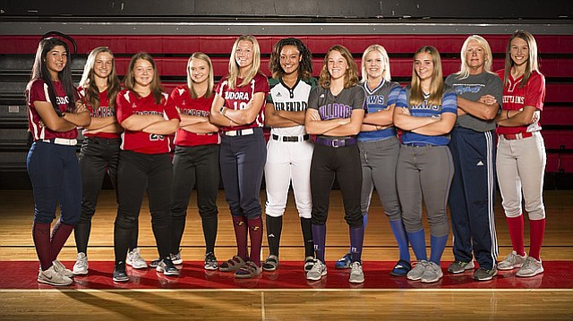 The Journal-World's 2017 All-Area softball team, from left, Kyla Etta, Eudora; Karly Johnson, Lawrence; Kampbell Kilburn, Lawrence; Annie Grammer, Lawrence; Jordan Flakus, Eudora; Sieana Hall, Baldwin; Harleigh Robertson, Perry-Lecompton, Player of the Year Megan Fast, Perry-Lecompton; Coach of the Year Jill Larson-Bradney, Perry-Lecompton; Lauren Gray, Tonganoxie.