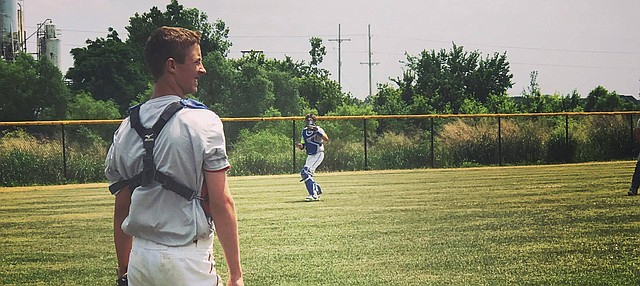 James Eaton looks on during a summer game. Eaton has been selected to a team for a USSSA team that will play in a tournament next month at Disney's Wide World of Sports Complex in Orlando, Fla.