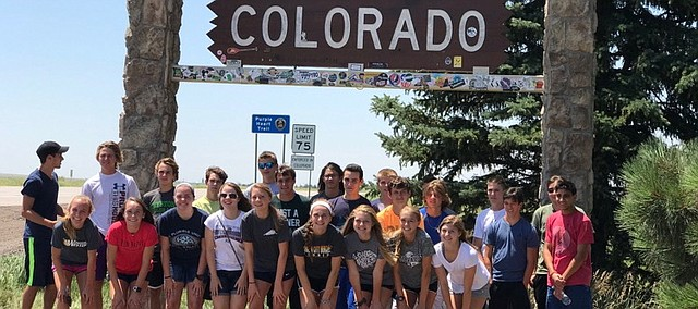 The Mill Valley cross country team gathers for a group photo during their trip in July to Colorado Springs, Colo.