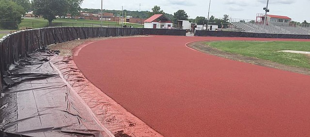 Beatty Field has a different look now that the renovated track is red. Tongaoxie USD 464 Interim Superintendent Tonya Phillips said at the regular school board meeting Monday, Aug. 14, 2017, that the track was open to the public for the time being until lines and other markings are painted.