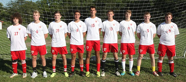 The Tonganoxie High soccer team has a slew of seniors this season.  Seniors, pictured from left, are Nathan Feiring, Zeb Huseman, Isaiah Frese, James Breedlove, Bowan Jones, Chandler Caldwell, Jens Ahlen, Gad Huseman and Nathaniel Lewandowski. Not pictured are Jose Monarrez and Joseph Caiharr.