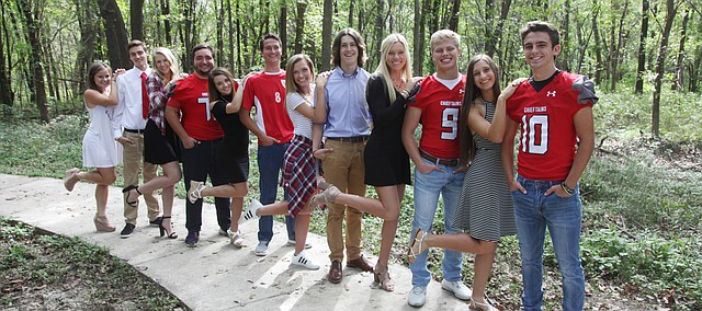 Tonganoxie High School is celebating homecoming this week. King and queen candidates this year are, from left, Alyssa Scott, Logan Beach, Lauren Willson, Samuel Sigourney, Faith Creten, James Breedlove, Cami Timm, Gage Smith, Mia Bond, Caden Searcy, Sierra Staatz and Mason Beach. Crowning will be 6:30 p.m. Friday at Beatty Field.
